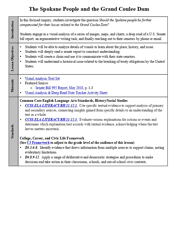 The Spokane People and the Grand Coulee Dam Lesson Plan with Activity Sheet.pdf