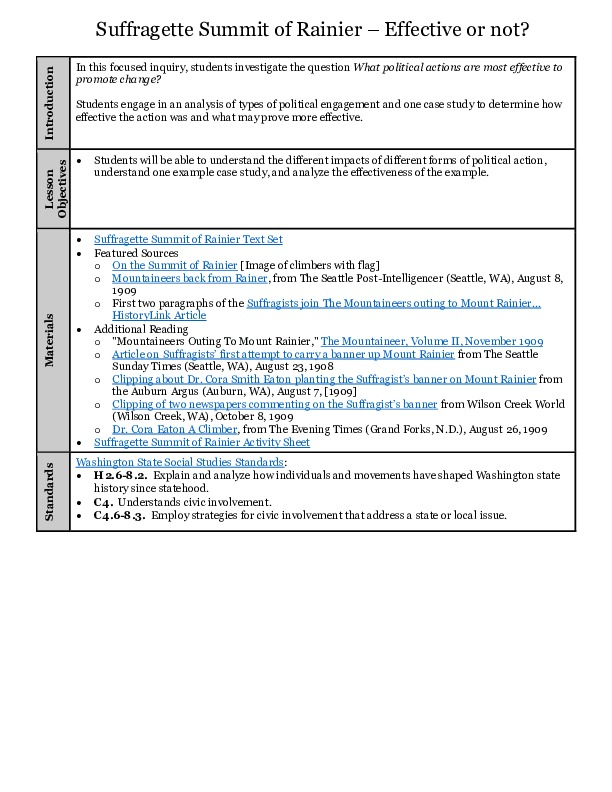 Suffragette Summit of Rainier Lesson Plan with Activity Sheet (form fillable pdf)