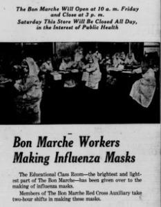 Bon Marche Workers Making Influenza Masks [Advertisement]
