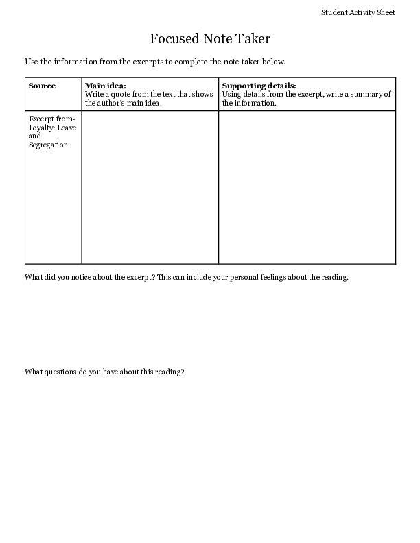 The No-No Boys of WWII Activity Sheet (form fillable pdf)