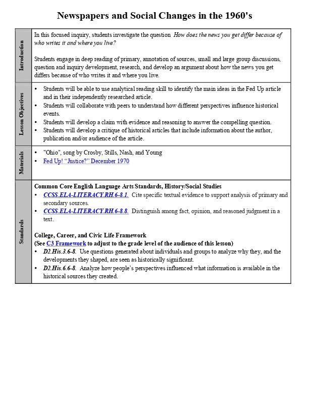 Newspapers and Social Changes in the 1960's Lesson Plan.pdf