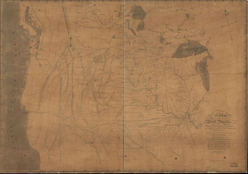 Map of part of the continent of North America : whereon is laid down the Missouri, Jeffersons, Lewis's, Clarks, and the Columbia, Rivers, from the Mississippi to the Pacific Ocean, as corrected by the celestial observations of Messr. Lewis & Clark during their tours of discovery in 1805 / copied from Lewis & Clarks map by N. King for the War Departmt. of U.S.