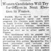 Page 029 : Suffragists as French Deputies: Women Candidates Will Try for Offices in Next Election in France
