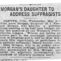 Page 119 : Morgan's Daughter to Address Suffragists