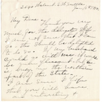Letter from Elizabeth Wardall to 'My Dear', 1/16/1912, page 1