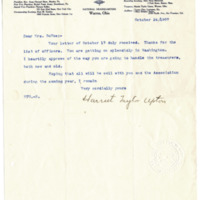 Letter from Harriet Upton to Emma Smith DeVoe, 10/24/1907, page 1
