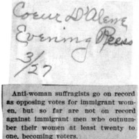 Page 127 : [news clipping: Opposing Votes for immigrant Women]