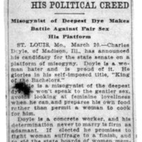 Page 028 : Hatred of Women His Political Creed: Misogynist of Deepest Dye Makes Battle Against Fair Sex His Platform