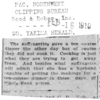 Page 147 : [news clipping : Suffragettes give a ten course dinner]