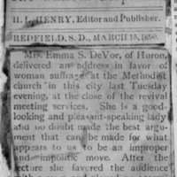 Page 27 : [news clipping: Emma Smith DeVoe lectures, sings]