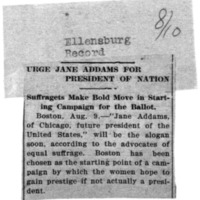 Page 134 : Urge Jane Addams for President of Nation