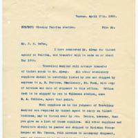 Letter from W. Albee to John H. DeVoe, 4/27/1908