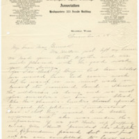 Letter from LaReine Baker to May Grinnell, 11/12/1908, page 1