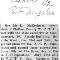 Page 135 : [News clipping: Ida L. McKechne tp perfect plans for A.Y.P. Exposition]