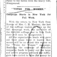 Page 025 : Votes For Women : Campaign Starts In New York For Fall Work