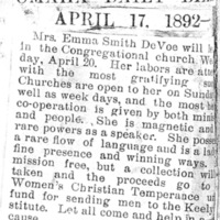 Page 022 : [news clipping: Emma Smith DeVoe to speak at Omaha, Neb.]