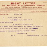 Telegram from Edna MacDonald to Emma Smith DeVoe, 8/15/1913