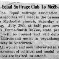 Page 112 : Equal Suffrage Club to Meet