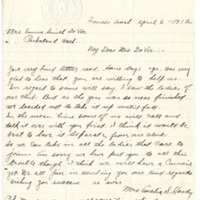 Letter from Amelia Handy to Emma Smith DeVoe, 4/6/1912, page 1