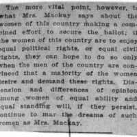 Page 025 : [Mrs. Mackay says women should make a combined effort to secure vote]