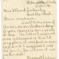 Letter from Mrs. C.E. Abegglen to Ellen Leckenby, 10/17/1910