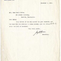 Letter from Jay Bacon to Emma DeVoe, 12/6/1910, page 1