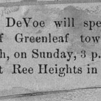 Page 10 : [news clipping: Emma DeVoe to lecture in Greenleaf township]
