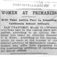 Page 035 : Women at Primaries: Will Take Active Part in Selecting California School Officers