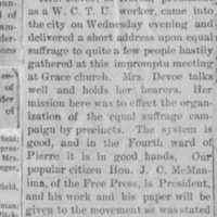 Page 30 : [news clipping: Emma Smith DeVoe in Pierre]