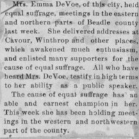 Page 26 : [news clipping: Emma Smith DeVoe speaks in Beadle]