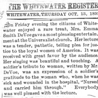 Page 076 : [news clipping: Review of Emma Smith DeVoe lecture at Whitewater]