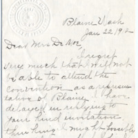 Letter from Etta Dailey to Emma Smith DeVoe, 1/22/1912, page 1