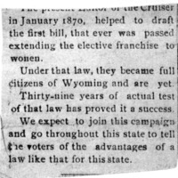 Page 112 : [news clipping: Franchisement in Wyoming]