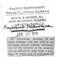 Page 121 : [newsclipping: Interesting meeting of the Equal Suffrage Club]