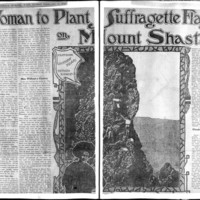 Page 143 : Woman to plant suffragette flag on Mount Shasta (continued on page 144)