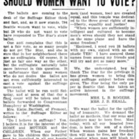 Page 136 : Should Women Want To Vote?