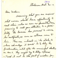 Letter from H. Painter to 'Dear madam', 11/17/1910, page 1