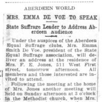Page 008 : Mrs. Emma DeVoe to Speak: State Suffrage Leader to Address Aberdeen Audience