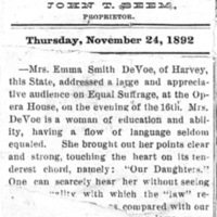 Page 034 : [news clipping: Review of Emma Smith DeVoe lecture at DuQuoin, Iowa]