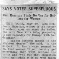 Page 152 : Says Votes Superfluous: Mrs. Harrison Finds No Use for Ballots for Women