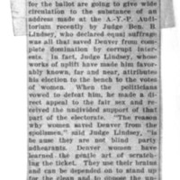 Page 154 : [news clipping: Lindsey Says Suffrage Saved Denver]