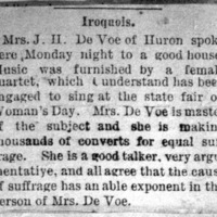 Page 42 : [news clipping: Emma Smith DeVoe in Esmond, Manchester and Iroquois
