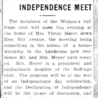 Page 070 : Suffragists To Hold Independence Meet