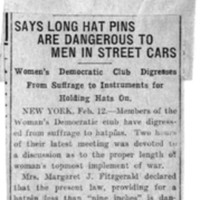 Page 142 : Says long hat pins are dangerous to men in street cars