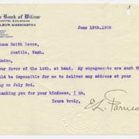 Letter from E. Farnsworth to Emma Smith DeVoe, 6/19/1909