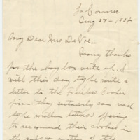 Letter from Linda Jennings to Emma Smith DeVoe, 8/27/1908, page 1
