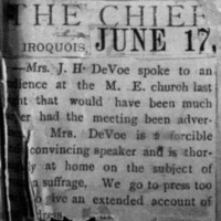Page 42 : [news clipping: Emma Smith DeVoe in Iroquois]