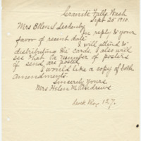 Letter from Helen Andrews to Ellen Leckenby, 9/25/1910, page 1