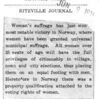 Page 170 : [Woman's Suffrage in Norway]