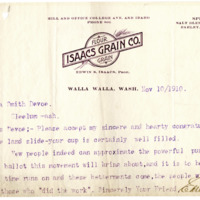 Letter from Edwin Isaacs to Emma Smith DeVoe, 11/10/1910